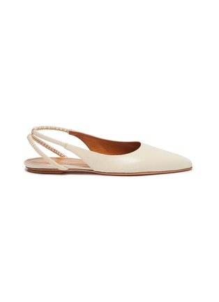 Main View - Click To Enlarge - ROSETTA GETTY - Point toe ruched slingback leather flats