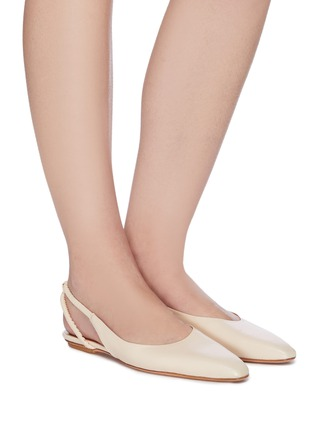 Figure View - Click To Enlarge - ROSETTA GETTY - Point toe ruched slingback leather flats