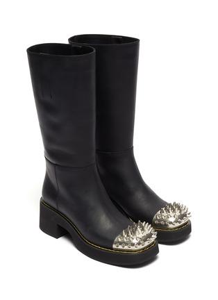 Studded captoe leather platform boots