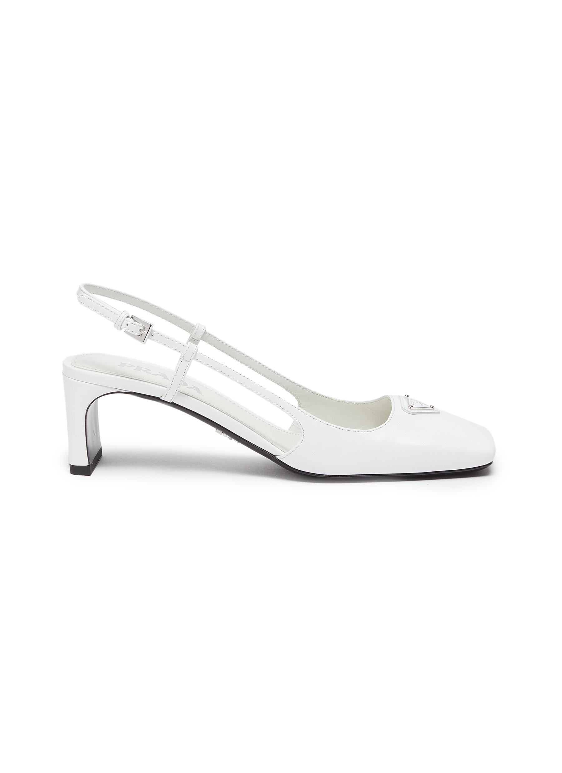 Prada Square toe logo patch leather slingback pumps