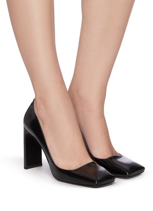 Figure View - Click To Enlarge - PRADA - Square toe leather pumps