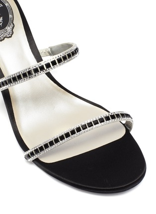 Detail View - Click To Enlarge - RENÉ CAOVILLA - 'Cleo' strass coil anklet satin sandals
