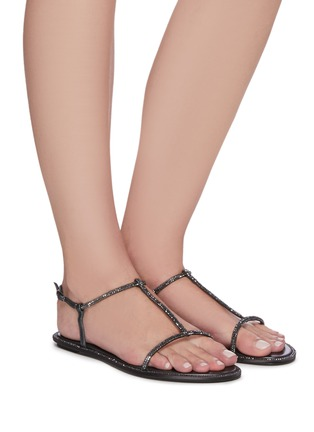Figure View - Click To Enlarge - RENÉ CAOVILLA - Strass satin thong sandals