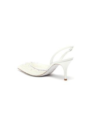 - RENÉ CAOVILLA - Pearl embellished lace slingback pumps