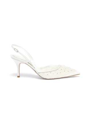 Main View - Click To Enlarge - RENÉ CAOVILLA - Pearl embellished lace slingback pumps