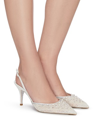 Figure View - Click To Enlarge - RENÉ CAOVILLA - Pearl embellished lace slingback pumps
