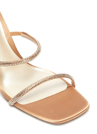 Detail View - Click To Enlarge - RENÉ CAOVILLA - Cleo strass coil anklet satin sandals