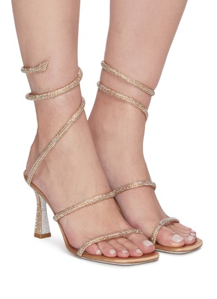 Figure View - Click To Enlarge - RENÉ CAOVILLA - Cleo strass coil anklet satin sandals