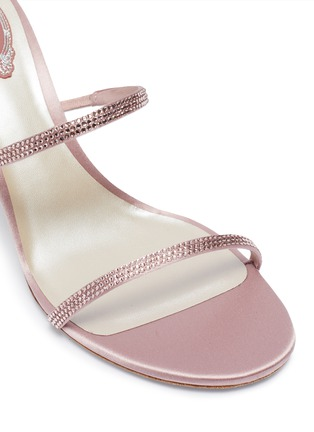 Detail View - Click To Enlarge - RENÉ CAOVILLA - Double strap strass embellished satin heel sandals