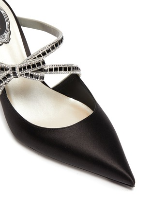 Detail View - Click To Enlarge - RENÉ CAOVILLA - Rhinestone embellished bow strap mules