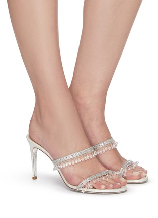 Figure View - Click To Enlarge - RENÉ CAOVILLA - Double strap chandelier strass embellished satin heel sandals