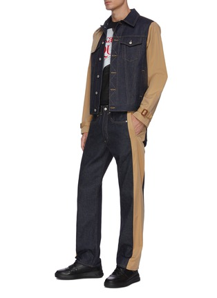 Figure View - Click To Enlarge - ALEXANDER MCQUEEN - Hybrid denim trench jacket