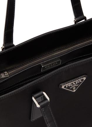 Detail View - Click To Enlarge - PRADA - Logo plaque leather trim nylon square tote