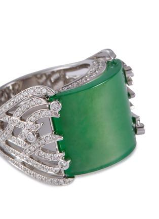 Detail View - Click To Enlarge - SAMUEL KUNG - Diamond jade 18k white gold ring