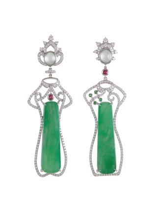 Main View - Click To Enlarge - SAMUEL KUNG - Diamond jade garnet ruby 18k white gold earrings