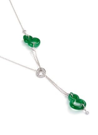 Figure View - Click To Enlarge - SAMUEL KUNG - Diamond jade 18k white gold double pendant necklace