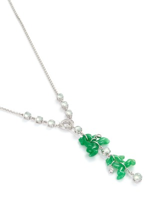 Figure View - Click To Enlarge - SAMUEL KUNG - Diamond jade 18k white gold frog pendant necklace