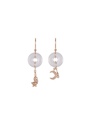 Main View - Click To Enlarge - SAMUEL KUNG - Diamond jade 18k rose gold earrings