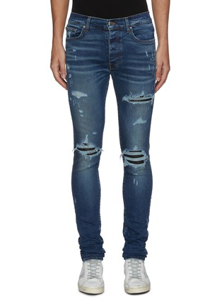 Main View - Click To Enlarge - AMIRI - Quilted leather inserts ripped skinny jeans