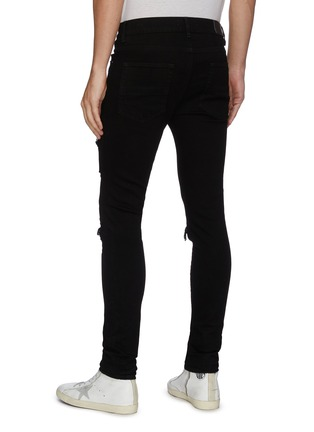 Back View - Click To Enlarge - AMIRI - Quilted leather inserts ripped skinny jeans