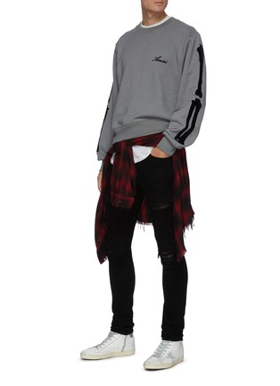 Figure View - Click To Enlarge - AMIRI - Quilted leather inserts ripped skinny jeans