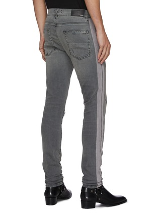 Back View - Click To Enlarge - AMIRI - Flocked track stripe ripped knee skinny jeans