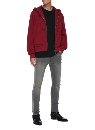 Figure View - Click To Enlarge - AMIRI - Flocked track stripe ripped knee skinny jeans
