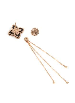 Detail View - Click To Enlarge - ROBERTO COIN - Princess Flower' diamond black jade 18k rose white gold earrings