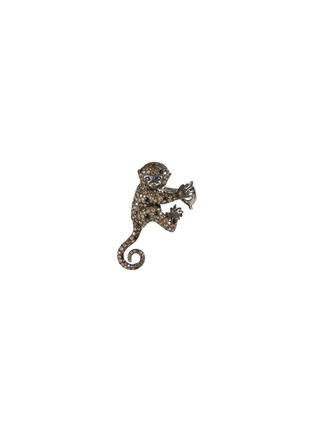 Main View - Click To Enlarge - ROBERTO COIN - Cheeky Monkey' diamond white black gold earrings