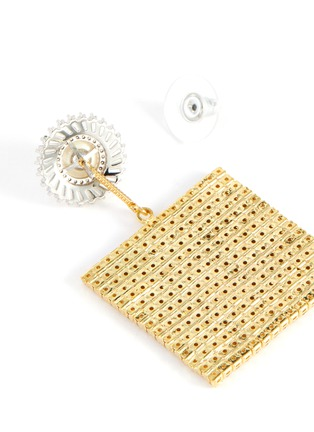 Detail View - Click To Enlarge - VENNA - Pearl stud squared crystal pave drop earrings