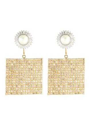 Main View - Click To Enlarge - VENNA - Pearl stud squared crystal pave drop earrings