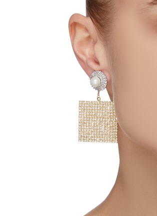 Figure View - Click To Enlarge - VENNA - Pearl stud squared crystal pave drop earrings