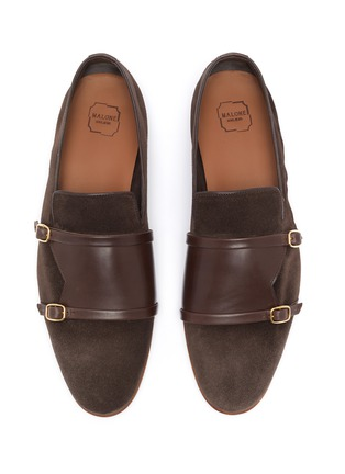 Detail View - Click To Enlarge - MALONE SOULIERS - Julian Florens double strap suede leather loafers