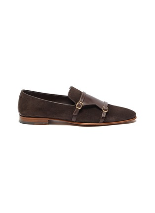 Main View - Click To Enlarge - MALONE SOULIERS - Julian Florens double strap suede leather loafers