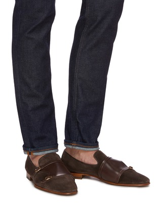 Figure View - Click To Enlarge - MALONE SOULIERS - Julian Florens double strap suede leather loafers