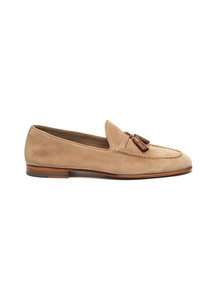 Main View - Click To Enlarge - MALONE SOULIERS - Alberto tassel suede leather loafers