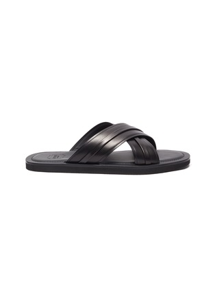 Main View - Click To Enlarge - MALONE SOULIERS - Gabriel cross strap leather flat sandals