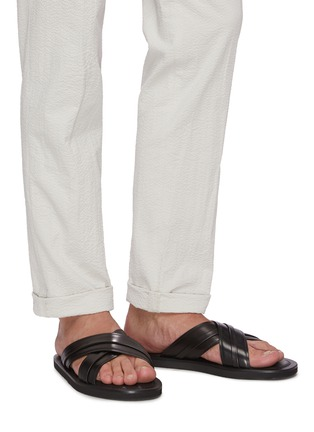 Figure View - Click To Enlarge - MALONE SOULIERS - Gabriel cross strap leather flat sandals