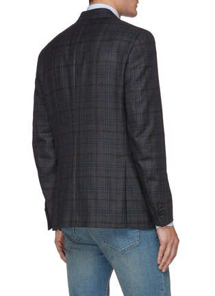 Back View - Click To Enlarge - ISAIA - Gregory notch lapel check wool blend blazer