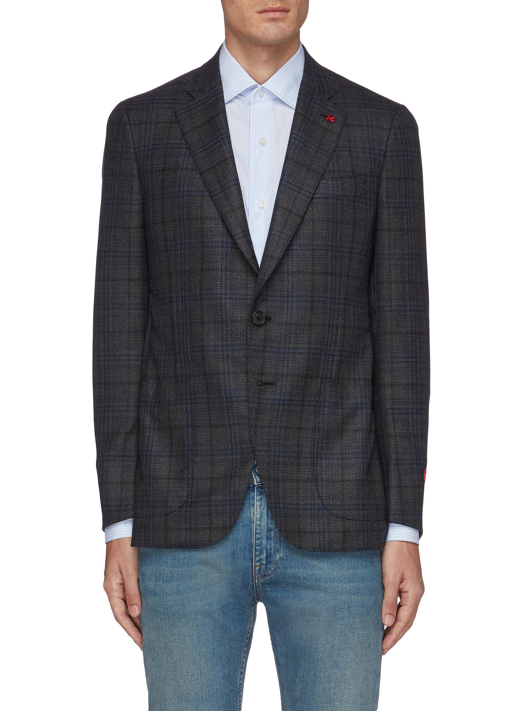 Isaia GREGORY NOTCH LAPEL CHECK WOOL BLEND BLAZER