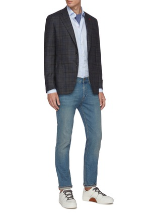Figure View - Click To Enlarge - ISAIA - Gregory notch lapel check wool blend blazer