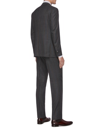 Back View - Click To Enlarge - ISAIA - Gregory notch lapel flap pocket stripe wool suit