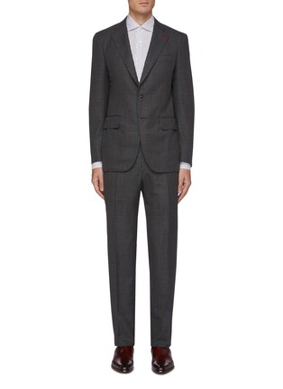 Main View - Click To Enlarge - ISAIA - Gregory notch lapel flap pocket stripe wool suit