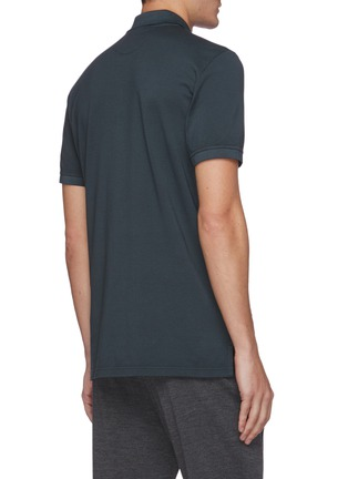 Back View - Click To Enlarge - ISAIA - Logo embroidered cotton polo shirt