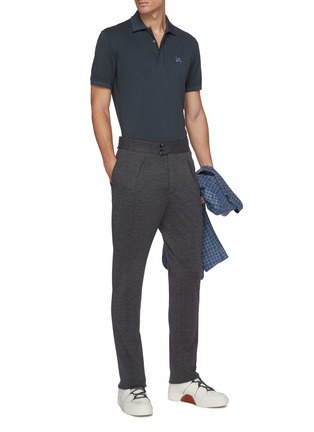 Figure View - Click To Enlarge - ISAIA - Logo embroidered cotton polo shirt