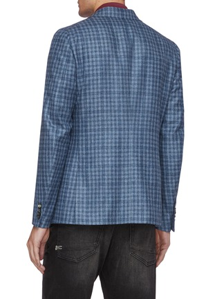 Back View - Click To Enlarge - ISAIA - Cortina notch lapel check wool blend blazer