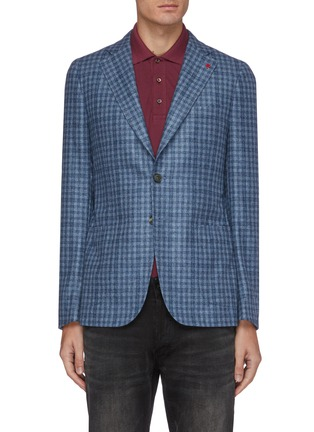 Main View - Click To Enlarge - ISAIA - Cortina notch lapel check wool blend blazer