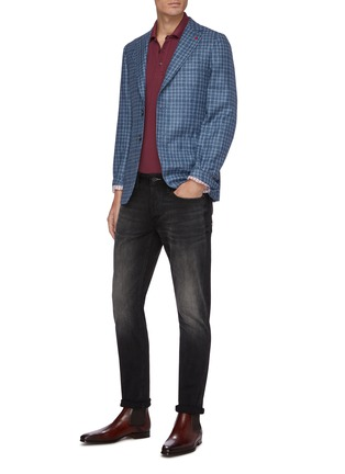 Figure View - Click To Enlarge - ISAIA - Cortina notch lapel check wool blend blazer