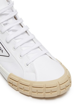 Detail View - Click To Enlarge - PRADA - Tyre sole gabardine high top sneakers