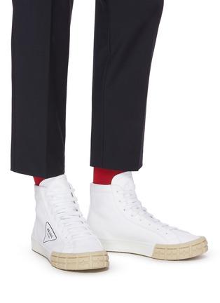 Figure View - Click To Enlarge - PRADA - Tyre sole gabardine high top sneakers